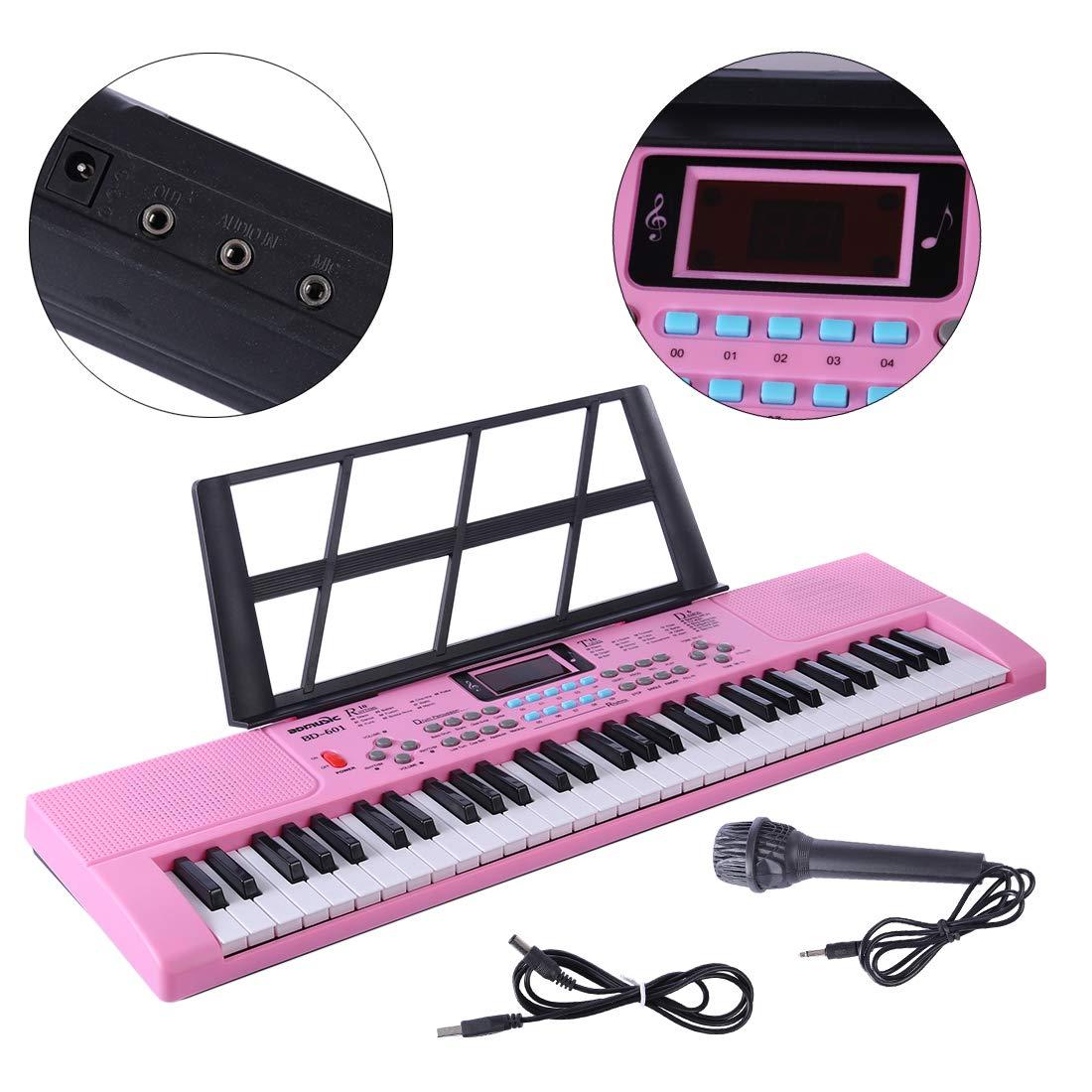 Tosbess Teclado Piano, Piano Digital 61 Teclas, Teclado Electronico Piano Multifuncional Órgano Eléctrico para Niños con Micrófono para Niños Pequeños y ...