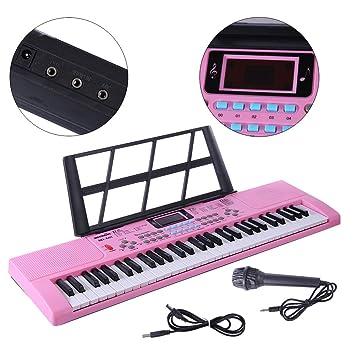 Yvsoo Teclado Electrónico Infantil, 61 Teclas Teclado de Piano con Micrófono Instrumentos Musicales Infantiles Música Regalo Educativo para Niños ...