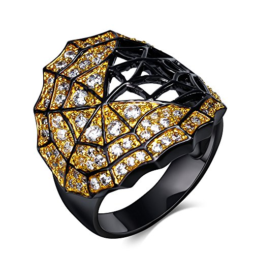 Ginger Lyne Collection Unique Jeweled Black Spider Web Ring]()