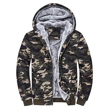 80c56850265c9 Men's Camouflage Warm Hoodie Winter Fleece Zipper Sweater Jacket Outwear  Coat
