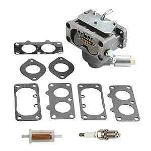 Harbot 791230 Carburetor for Briggs & Stratton V-Twin 4 Cycle 20-25HP Vertical Engine John Deere LA120 LA130 LA135 LA140 LA145 LA150 Replace # 699709 499804 MIA10632 with Gasket Spark Plug Fuel Filter