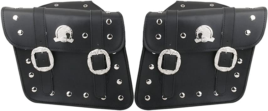 MagiDeal Pack of 2 Black Motorcycle Saddlebags Saddle Bags Pannier for Harley