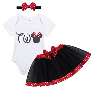 4742ecc56c26 TiaoBug Baby Girls 1st/2nd Birthday Party Outfit Cartoon Cosplay Short  Sleeve Romper with Tutu Skirt Headband Set: Amazon.co.uk: Clothing