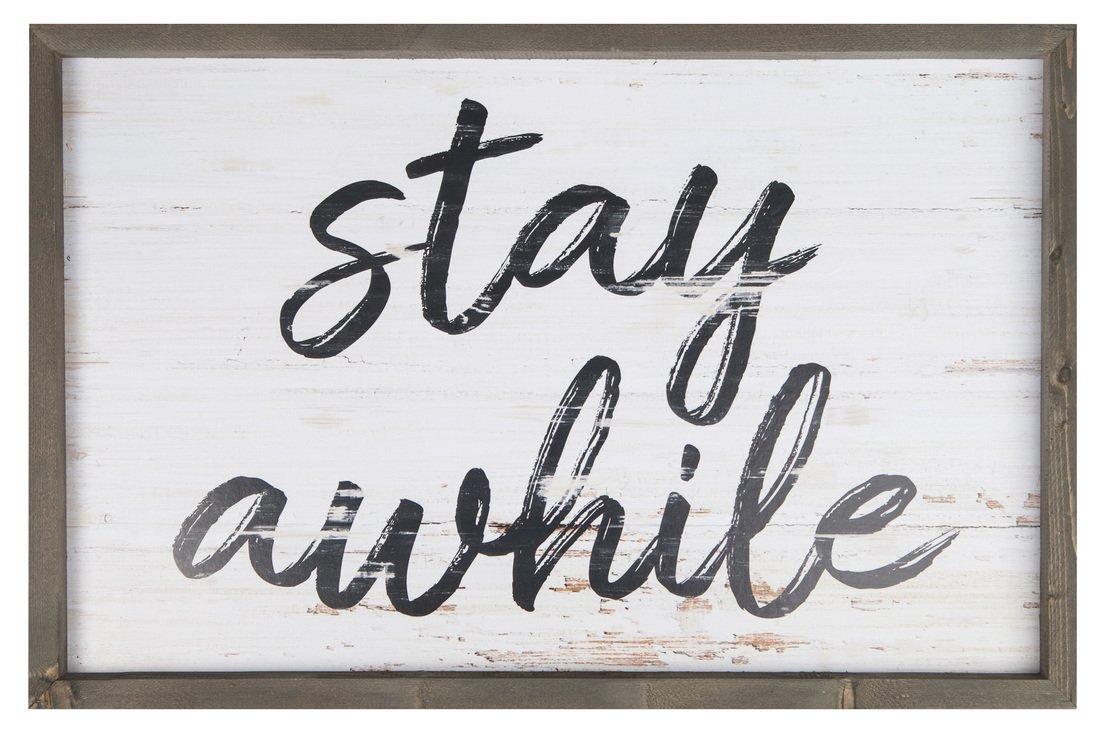 P. Graham Dunn Stay Awhile Script 24.5 x 16 Wood Farmhouse Frame Wall Plaque by P. Graham Dunn