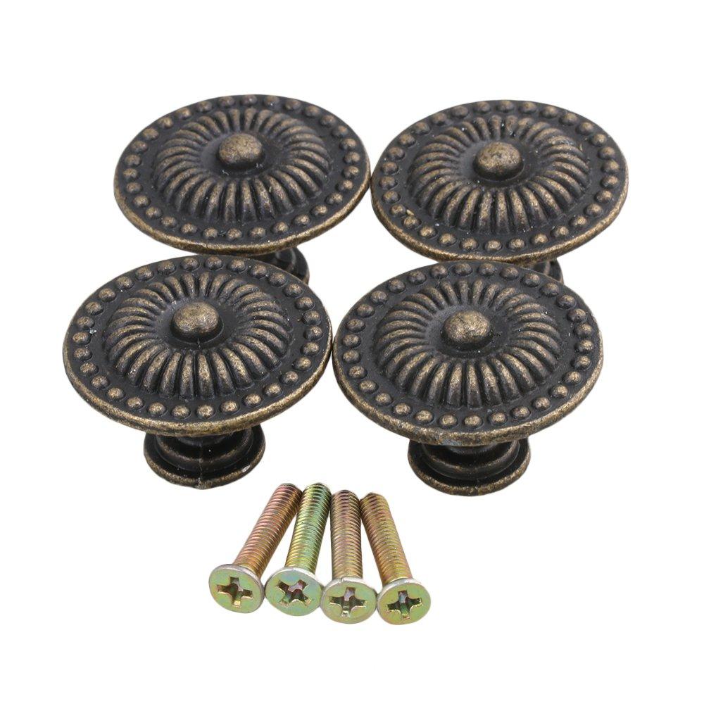 BQLZR Decorative Vintage Round Pull Handle Knob Cupboard Bronze Drawer Cabinet Pack Of 4 N13056