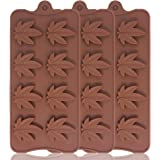Leaf Silicone Chocolate Candy Molds, FineGood 3 Pack 8-Cavity Pudding Jelly Ice Cube Trays for DIY Baking