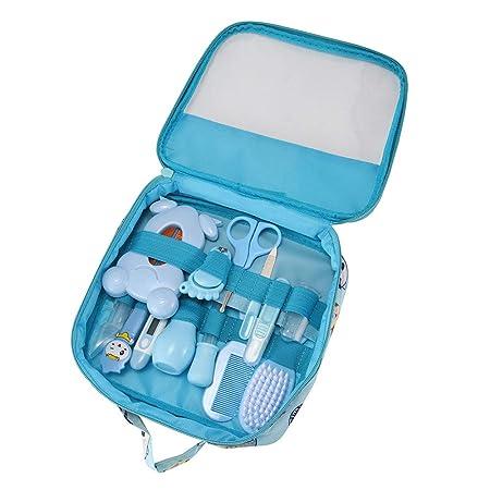 ONEVER 13 Unids Bolsa de Cuidado de la Salud Bebé Higiene Diaria de Uña Clipper Tijeras Cepillo Peine Peine Cuidado de Manicura (blue)