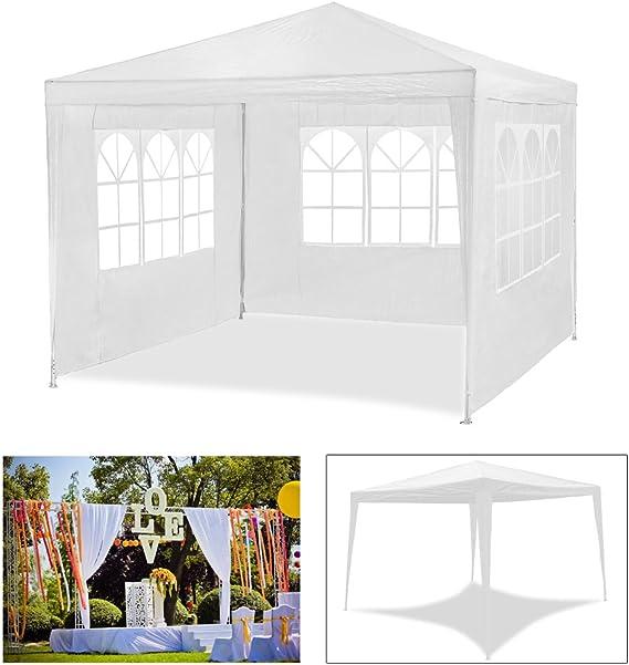 MCTECH/® 3 x 6 m Blu Tenda Esterno Tenda da Giardino Padiglione Tenda Birra Tenda Gazebo Copertura PE impermeabilecon 6 pareti Laterali 4 finestre 2 Porte con Cerniera