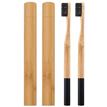 Amazon.com : 2 Pack Black Natural Bamboo Toothbrush With Travel Case Charcoal Medium Bristles BPA-Free, Biodegradable and Eco-Friendly Individually Packaged ...