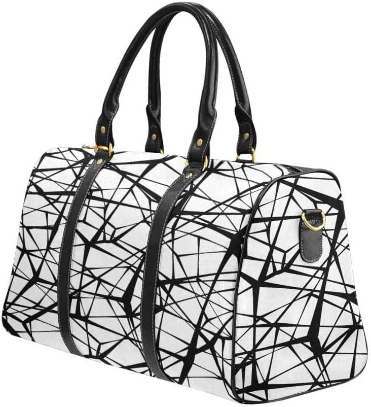 InterestPrint Unisex Duffel Bag Carry-on Bag Overnight Bag Weekender Bag Black Line Geometry