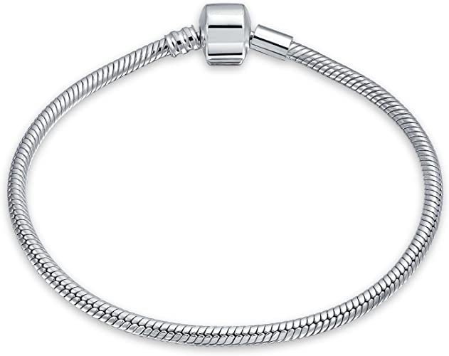 """Sterling Silver 925 Snake Chain Bracelet W Silver Beads Charms 8/""""inch"""
