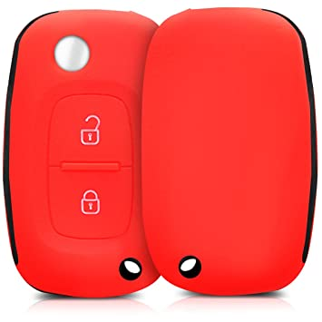 kwmobile Funda de Silicona para Llave Plegable de 2 Botones para Coche Renault - Carcasa Protectora Suave de Silicona - Case Mando de Auto Rojo