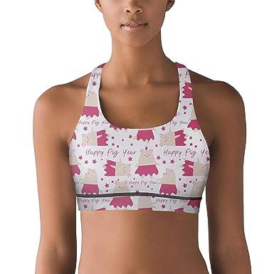 efb7bd3da6 Eoyles gy Light Support Women Girls Cartoon Pig New Year Symbol Sports  Breathable Yoga Bra