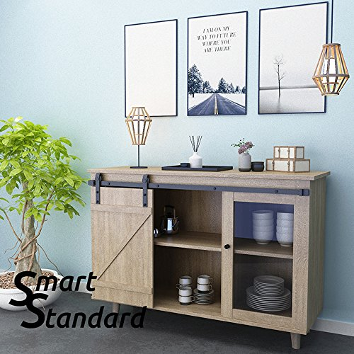 SMARTSTANDARD Mini Cabinet 5ft Sliding Barn Door Hardware for Cabinet TV Stand (Black) (Mini J Shape Hangers) (1 x5 foot Rail) (Small Door Sliding)