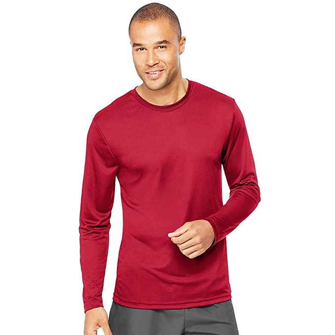 17f0aa6f2 Image Unavailable. Image not available for. Color  Hanes by Cool Dri  Performance Men s Long-Sleeve T-Shirt Deep Red XL