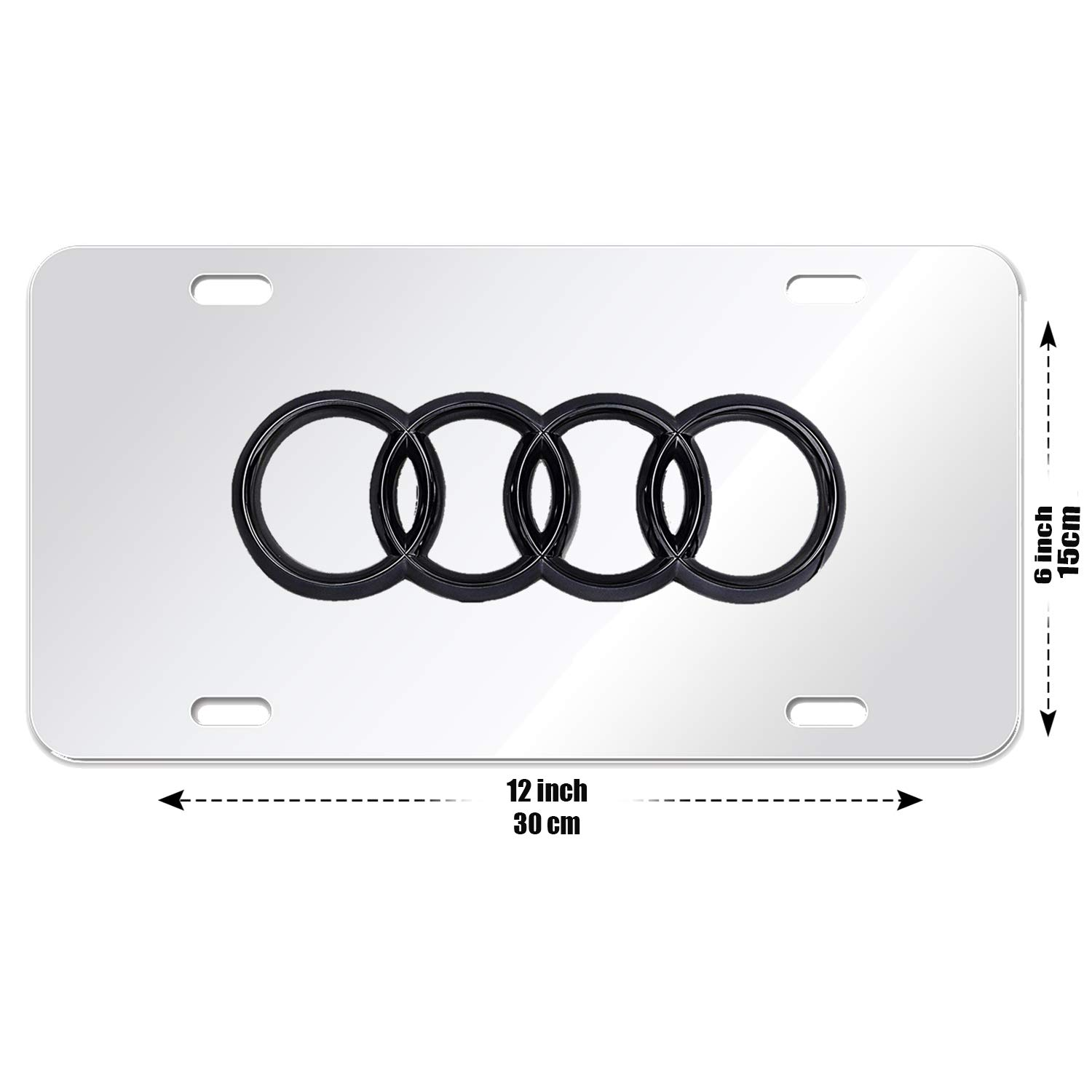 Mercedes Benz Logo 3-D Silver Mirror Stainless Steel Front License Plate,with Screw Caps Cover Set Suit for Mercedes Benz.