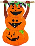 Evergreen Welcome Pumpkin Totem Applique House Flag, 28 x 44 inches