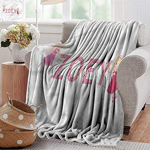 "Xaviera Doherty Flannel Throw Blanket Zoey,Feminine Baby Girl Name for Bed & Couch Sofa Easy Care 50""x60"""