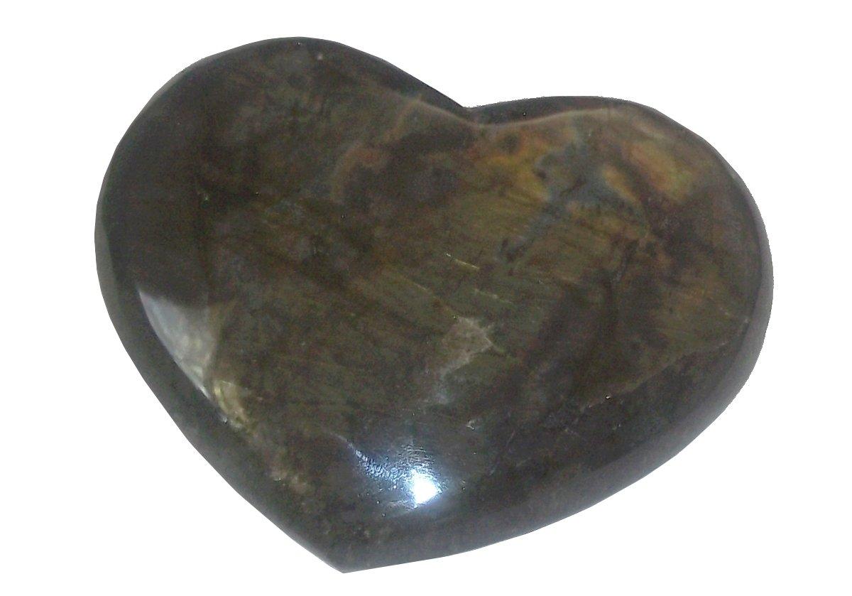 3.75'' Large Labradorite Puffy Heart 02 Protection Crystal Healing Chakras Aura Energy