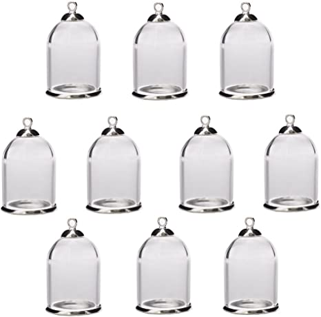 25x18mm Bronze Classic 10 Pieces Clear Tube Glass Globe Bottle with findings Hollow Glass Dome Glass Vial Pendant Charms