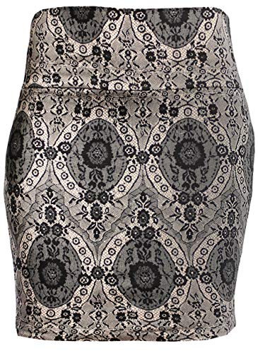 KMystic Basic Mini Skirt with Wide Waist Band (Small, Cream Lace)