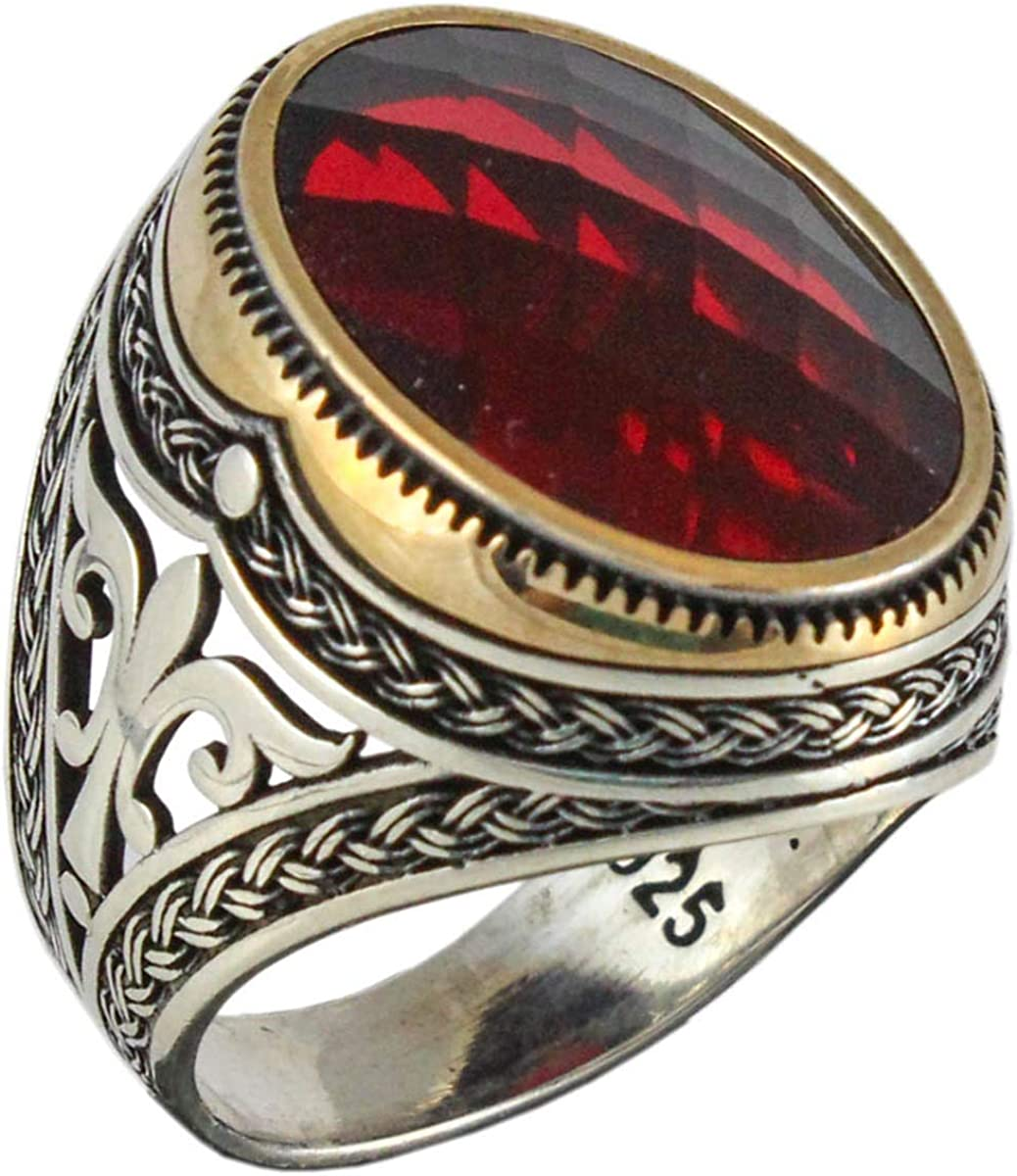 Solid 925 Sterling Silver Cubic Zirconia Stone Ruby Color Luxury Turkish Handmade Men's Ring
