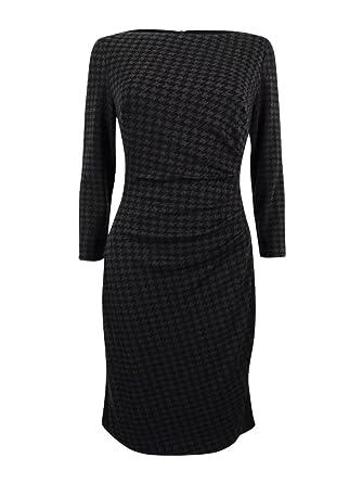 Lauren Ralph Lauren Women's Houndstooth Ponte Dress (10, Grey/Black)