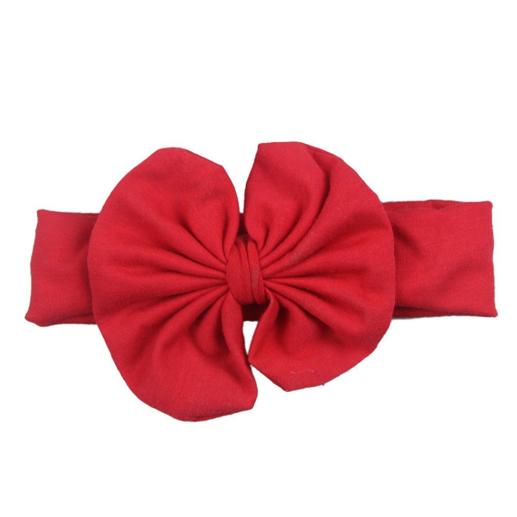 DZT1968(TM)Baby Girl Newest Bowknot Turban Headband Head Wrap Knotted Hair Band (Red)