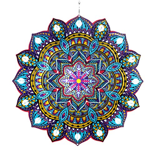 Exhart 3D Mandala Wind Spinner - Laser Cut Metal Mandala Art Hanging Décor w/Crystal Accent Beads -Starburst Décor, Hanging Wind Spinner, 3D Metal Art, Indoor/Outdoor Decor, 12 Inches
