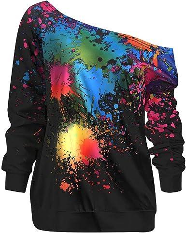 Hulkay Women S Blouse Long Sleeve Paint Splatter Print T Shirt Diagonal Neck Premium Comfy Loose Tops For Women At Amazon Women S Clothing Store