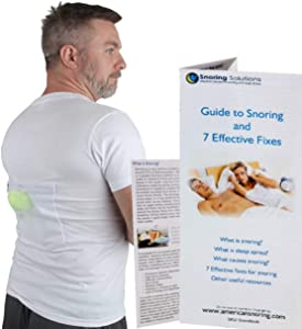 Stop Snoring T-Shirt - Snore Stopper - Most Comfortable Snoring Aid. Health Expert Recommended for Back Snorers! Eliminates Snoring by Adjusting Your Sleeping Position. Guide to Snoring Ebook (Large)