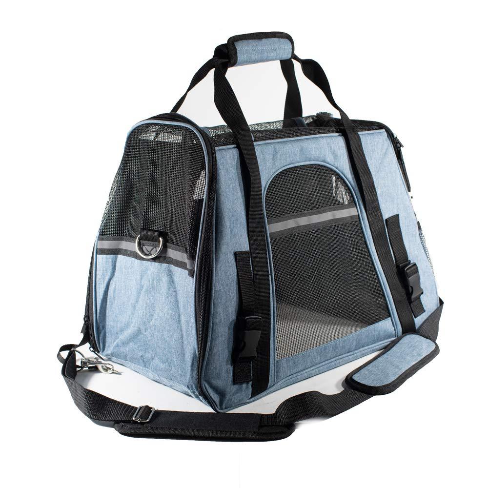 ALEKO PBCBLS Portable Heavy Duty Pet Travel Shoulder Carrier Bag Blue and Black