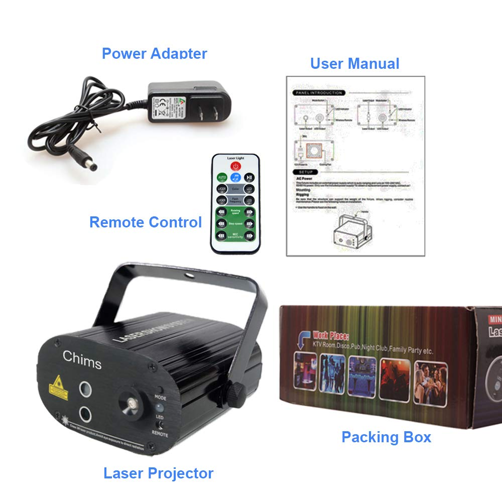 Chims DJ Laser Lights Projector Red Green Blue Colorful 128 ...