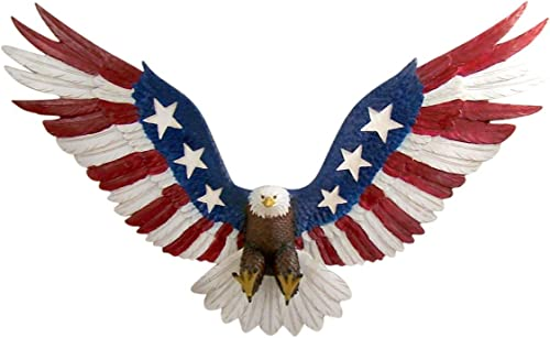 American Glory Patriotic Red White and Blue Bald Eagle Large Hanging Wall Statue