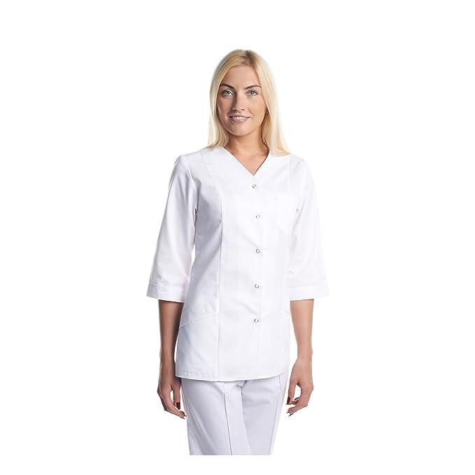 Vest Albus Bata Sanitario de Laboratorio Ropa de Trabajo Medicina (XS)
