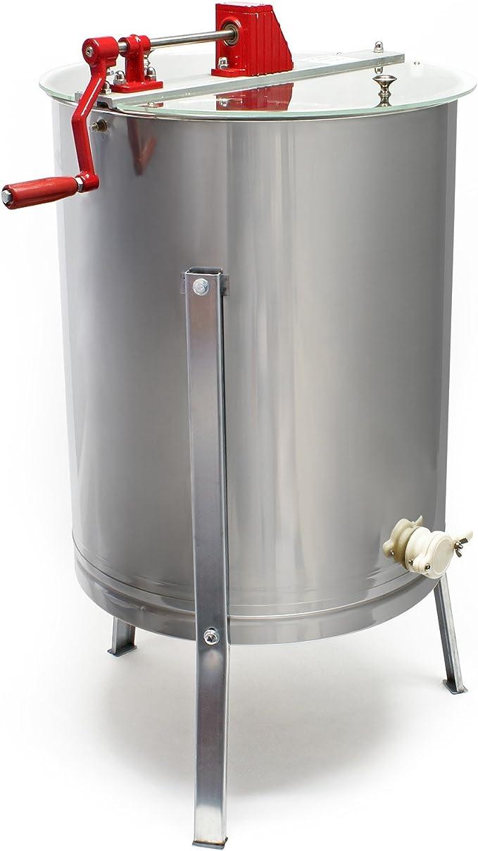 4 cadres+2 couvercles Inoxy Extracteur de Miel Manuel Centrifugeuse+3 pieds