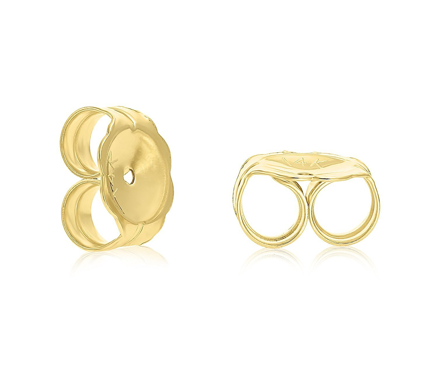 14k Yellow Gold 6mm Polished Ball Stud Earrings with Secure and Comfortable Friction Backs by Art and Molly (Image #2)