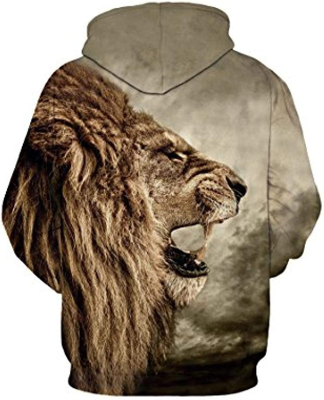 CYFLY® Pink bedrucktes Big Pockets Drawstring Hoodie Sweatshirt Roaring Lion
