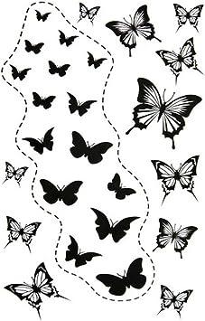Set de 2 Simple mariposas Spin Body Tattoo Stickers Fake Temporal ...