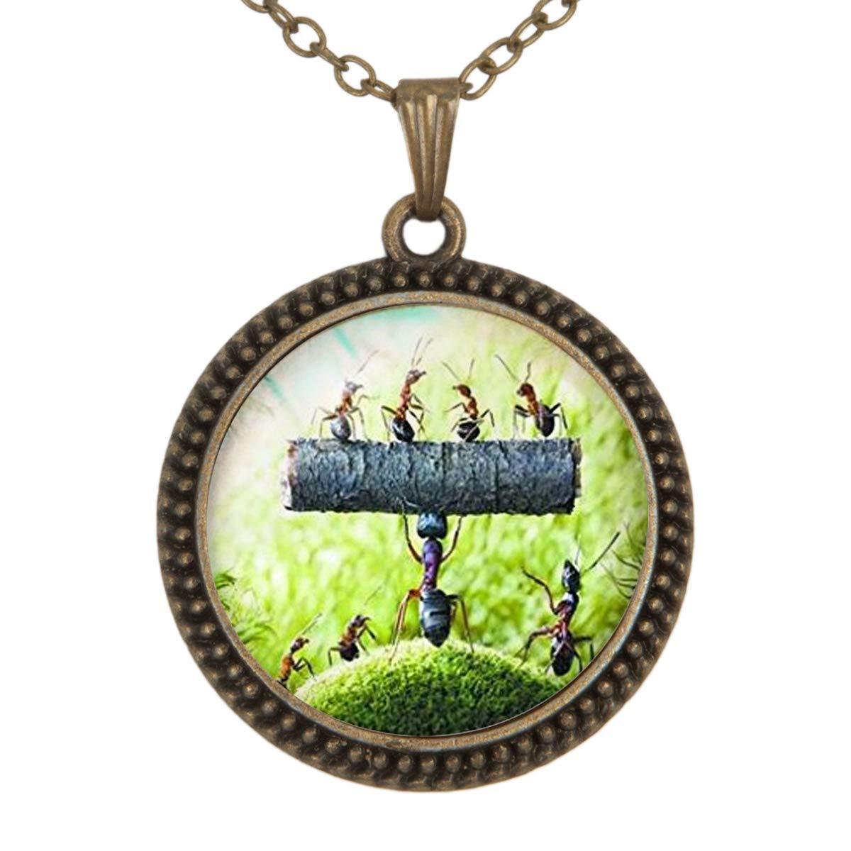 Family Decor Tenacious Ants Pendant Necklace Cabochon Glass Vintage Bronze Chain Necklace Jewelry Handmade