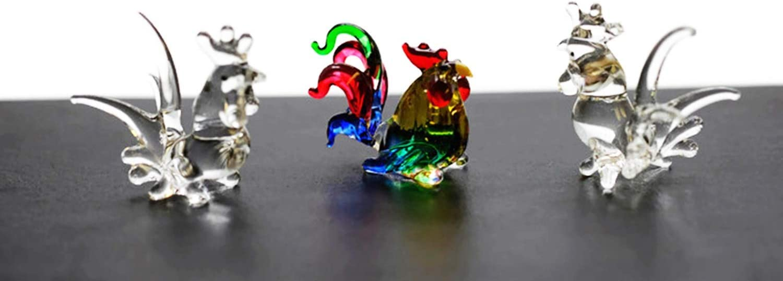 ChangThai Design 3 Pcs Fancy Colorful Cock HandBowl Glass Dollhouse Miniatures Decoration Figurine Collection