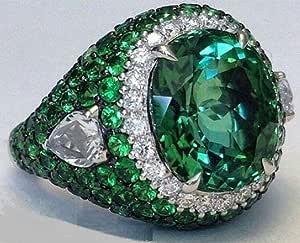 خاتم فضي رجالي تصميم تركي كلاسيك ،مرصع بحجر زمرد اخضر وزركون حجم  8