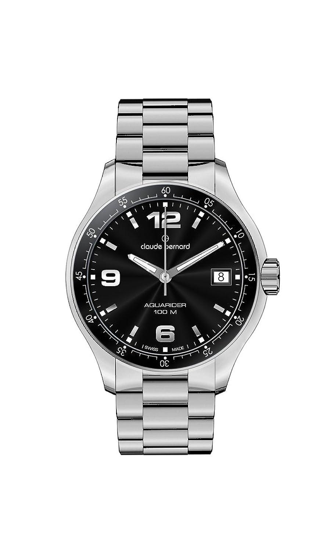 Claude Bernard Damen 70169 3 NIN Aquarider Black Dial Stainless Steel Date Uhr