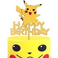 LILIPARTY Acrylic Hi Pikachu Happy Birthday Cake Topper, Trainers Themed Party Decoration, Glitter Kid Birthday Party…