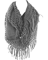Crochet Fringed Infinity Circle Loop Figure Eight Endless Scarf Wrap by Silver Fever (Charcoal-Wide)