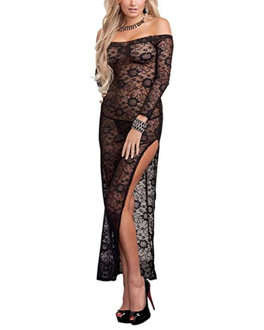 04ef083a21 Innerribbons Women Sexy Lace Lingerie Sleepwear Gown Chemise Babydoll Long Gown  Nightdress with G String Underwear