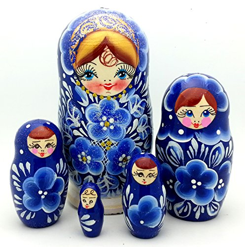 (Traditional blue flowers Russian nesting doll Hand Carved Hand Painted 5 piece DOLL Set / 5