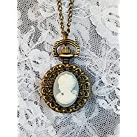 Ladies Blue Cameo Pocket Watch on Long Chain Antique Gold *Reproduction*