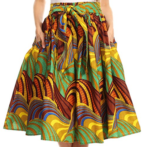 Cotton Circle Skirt (Sakkas 16321 - Celine African Dutch Ankara Wax Print Full Circle Skirt - 532-OliveMulti - OS)