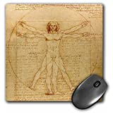 3dRose 8 x 8 x 0.25 Inches Mouse Pad, Vitruvian Man by Leonardo Da Vinci 1490, Fine Anatomical Art, Human Anatomy Pen and Ink Drawing (mp_155633_1)